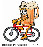 #23089 Clip Art Graphic Of A Frothy Mug Of Beer Or Soda Cartoon Character Riding A Bicycle