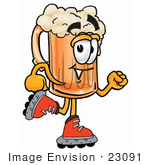 #23091 Clip Art Graphic Of A Frothy Mug Of Beer Or Soda Cartoon Character Roller Blading On Inline Skates