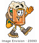#23093 Clip Art Graphic Of A Frothy Mug Of Beer Or Soda Cartoon Character Hiking And Carrying A Backpack