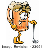 #23094 Clip Art Graphic Of A Frothy Mug Of Beer Or Soda Cartoon Character Leaning On A Golf Club While Golfing