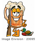 #23095 Clip Art Graphic Of A Frothy Mug Of Beer Or Soda Cartoon Character Duck Hunting Standing With A Rifle And Duck