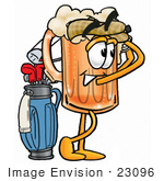 #23096 Clip Art Graphic Of A Frothy Mug Of Beer Or Soda Cartoon Character Swinging His Golf Club While Golfing