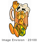 #23100 Clip Art Graphic Of A Frothy Mug Of Beer Or Soda Cartoon Character Plugging His Nose While Jumping Into Water