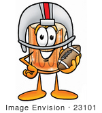#23101 Clip art Graphic of a Frothy Mug of Beer or Soda Cartoon Character in a Helmet, Holding a Football by toons4biz