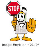 #23104 Clip Art Graphic Of A Calculator Cartoon Character Holding A Stop Sign