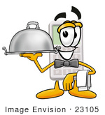 #23105 Clip Art Graphic Of A Calculator Cartoon Character Dressed As A Waiter And Holding A Serving Platter
