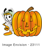 #23111 Clip Art Graphic Of A Calculator Cartoon Character With A Carved Halloween Pumpkin