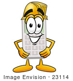 #23114 Clip Art Graphic Of A Calculator Cartoon Character Wearing A Hardhat Helmet