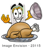 #23115 Clip Art Graphic Of A Calculator Cartoon Character Serving A Thanksgiving Turkey On A Platter