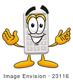 #23116 Clip Art Graphic Of A Calculator Cartoon Character With Welcoming Open Arms