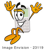 #23119 Clip Art Graphic Of A Calculator Cartoon Character Jumping