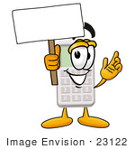 #23122 Clip Art Graphic Of A Calculator Cartoon Character Holding A Blank Sign
