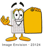 #23124 Clip Art Graphic Of A Calculator Cartoon Character Holding A Yellow Sales Price Tag
