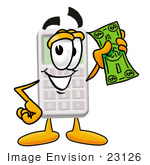 #23126 Clip Art Graphic of a Calculator Cartoon Character Holding a Dollar Bill by toons4biz