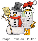 #23127 Clip Art Graphic Of A Calculator Cartoon Character With A Snowman On Christmas