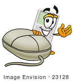 #23128 Clip Art Graphic Of A Calculator Cartoon Character With A Computer Mouse