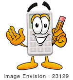 #23129 Clip Art Graphic Of A Calculator Cartoon Character Holding A Pencil