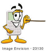 #23130 Clip Art Graphic Of A Calculator Cartoon Character Holding A Pointer Stick