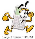#23131 Clip Art Graphic of a Calculator Cartoon Character Running by toons4biz