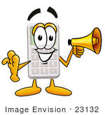 #23132 Clip Art Graphic Of A Calculator Cartoon Character Holding A Megaphone
