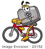 #23152 Clip Art Graphic Of A Flash Camera Cartoon Character Riding A Bicycle