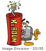 #23155 Clip Art Graphic Of A Flash Camera Cartoon Character Standing With A Lit Stick Of Dynamite