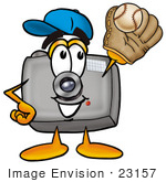 #23157 Clip Art Graphic Of A Flash Camera Cartoon Character Catching A Baseball With A Glove
