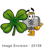 #23158 Clip Art Graphic Of A Flash Camera Cartoon Character With A Green Four Leaf Clover On St Paddy'S Or St Patricks Day