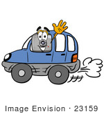 #23159 Clip Art Graphic Of A Flash Camera Cartoon Character Driving A Blue Car And Waving