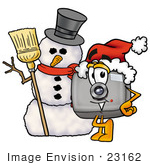 #23162 Clip Art Graphic Of A Flash Camera Cartoon Character With A Snowman On Christmas