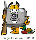 #23163 Clip Art Graphic Of A Flash Camera Cartoon Character Duck Hunting Standing With A Rifle And Duck