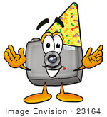 #23164 Clip Art Graphic of a Flash Camera Cartoon Character Wearing a Birthday Party Hat by toons4biz