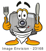 #23168 Clip Art Graphic Of A Flash Camera Cartoon Character Holding A Knife And Fork