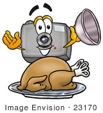#23170 Clip Art Graphic Of A Flash Camera Cartoon Character Serving A Thanksgiving Turkey On A Platter