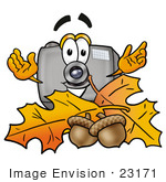 #23171 Clip Art Graphic Of A Flash Camera Cartoon Character With Autumn Leaves And Acorns In The Fall