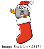 #23174 Clip Art Graphic Of A Flash Camera Cartoon Character Wearing A Santa Hat Inside A Red Christmas Stocking