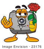 #23176 Clip Art Graphic Of A Flash Camera Cartoon Character Holding A Red Rose On Valentines Day