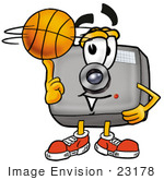 #23178 Clip Art Graphic Of A Flash Camera Cartoon Character Spinning A Basketball On His Finger