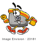#23181 Clip Art Graphic Of A Flash Camera Cartoon Character Speed Walking Or Jogging