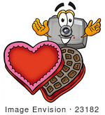 #23182 Clip Art Graphic Of A Flash Camera Cartoon Character With An Open Box Of Valentines Day Chocolate Candies