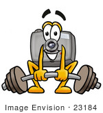 #23184 Clip Art Graphic Of A Flash Camera Cartoon Character Lifting A Heavy Barbell