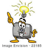 #23185 Clip Art Graphic Of A Flash Camera Cartoon Character With A Bright Idea