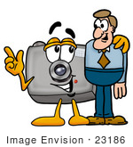 #23186 Clip Art Graphic Of A Flash Camera Cartoon Character Talking To A Business Man