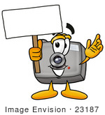 #23187 Clip Art Graphic of a Flash Camera Cartoon Character Holding a Blank Sign by toons4biz