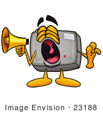 #23188 Clip Art Graphic Of A Flash Camera Cartoon Character Screaming Into A Megaphone