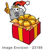 #23189 Clip Art Graphic Of A Flash Camera Cartoon Character Standing By A Christmas Present