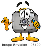#23190 Clip Art Graphic Of A Flash Camera Cartoon Character Looking Through A Magnifying Glass