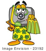 #23192 Clip Art Graphic Of A Flash Camera Cartoon Character In Green And Yellow Snorkel Gear