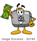#23194 Clip Art Graphic Of A Flash Camera Cartoon Character Holding A Dollar Bill