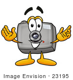 #23195 Clip Art Graphic Of A Flash Camera Cartoon Character With Welcoming Open Arms